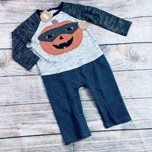 NWT Mudpie Boys 9m Halloween Pumpkin Mask Romper